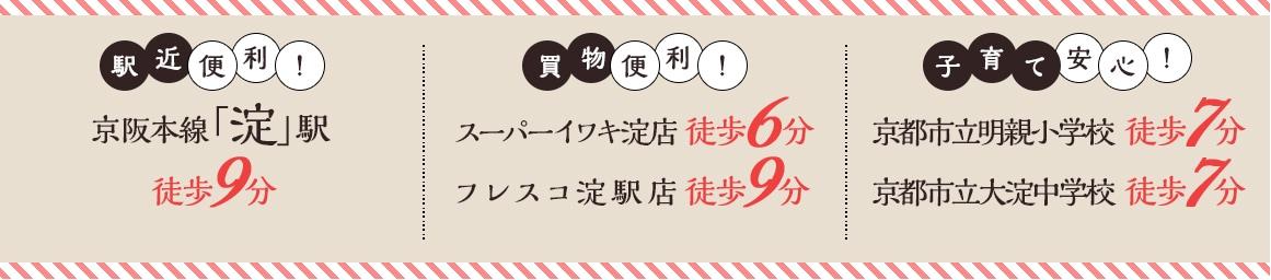 京阪本線「淀」駅徒歩9分。駅近便利!子育て安心!買物便利!