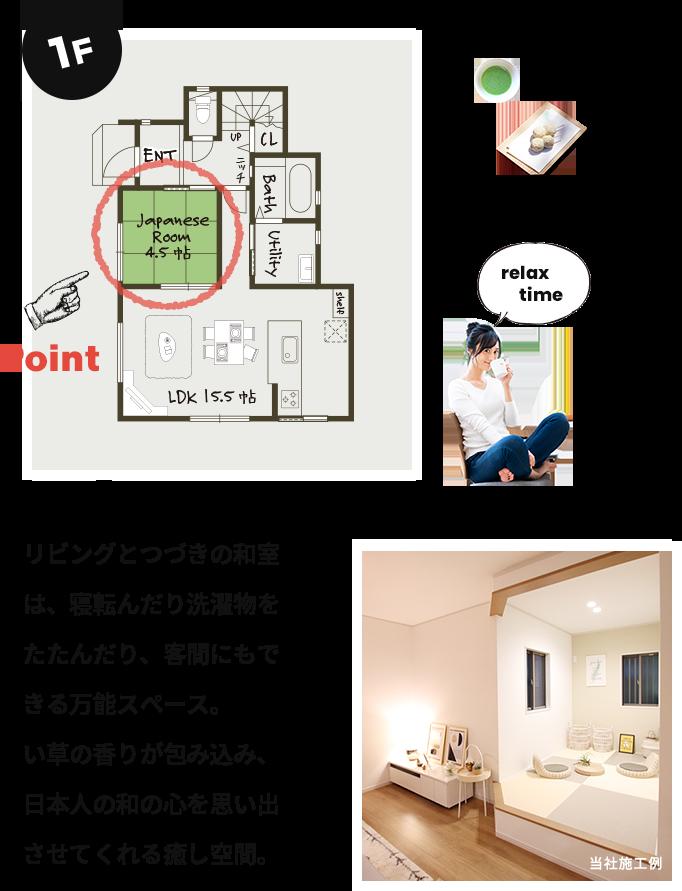 リビングとつづきの和室は、寝転んだり洗濯物をたたんだり、客間にもできる万能スペース。い草の香りが包み込み、日本人の和の心を思い出させてくれる癒し空間。