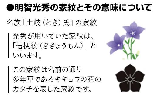 ●明智光秀の家紋とその意味について 名族「土岐(とき)氏」の家紋 光秀が用いていた家紋は、「桔梗紋(ききょうもん)」といいます。この家紋は名前の通り多年草であるキキョウの花のカタチを表した家紋です。